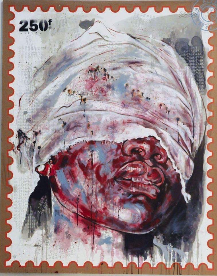 Tortured face © Jean-David Nkot, 200x160, 2016